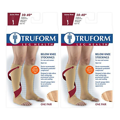 e14a88de6e5 Qoo10 - Truform Compression 30-40 mmHg Knee High Open Toe Dot Top ...
