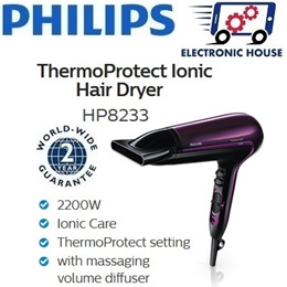 ★ Philips HP8233 ThermoProtect Ionic Hairdryer ★ (2 Years World-Wide Warranty)