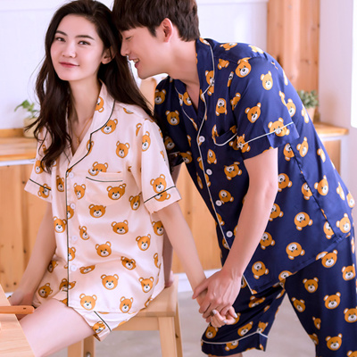 b8a36cfcea Paarekku short sleeve pajamas couple matching waiting room wear sleepwear  Men's ladies upper and lower sets