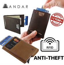 [USA-Andar] Secure Anti-theft RFID Minimalist Pop-up Leather Slim Slide Wallet / Card Case / Holder