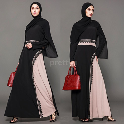 461e9cf12a Muslim Women Plus Size Maxi Dress Crochet Lace Splice O Neck Long Sleeves Abaya  Islamic Robe