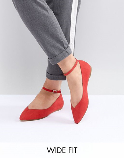 88c532446a70 Qoo10 - Faith Wide Fit Ally Red Pointed Flat Shoes   Shoes