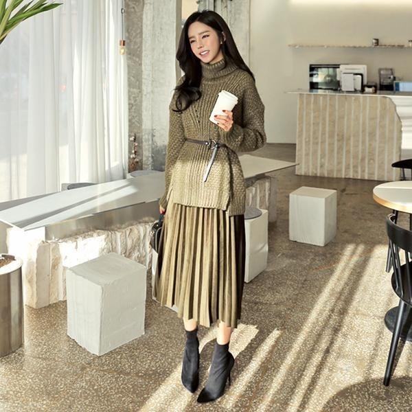 フレンチ・ポーラ・SETワンピースセットnew / 体型カバーになる / 秋ワンピース / ニット・ワンピース / 韓国ファッション妊婦服 /