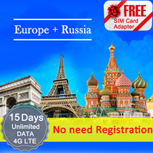 ◆ ICC◆【Europe + Russia Sim Card· 15 Days】❤ 4G LTE/3G + Unlimited data + call ( NEED TOP-UP)❤