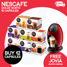 [NESTLE] Buy 12 Boxes of Nestle Dolce Gusto Capsules and Get a FREE JOVIA MACHINE!