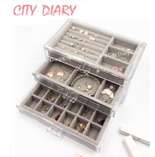Acrylic Stackable cosmetic organizer jewelry box earring Makeup storage box