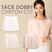 [The Juddy] New Item JD16-10|| Tack Dobby Chiffon Cut|| Women Blouse||Women Tops|| Long Sleeve