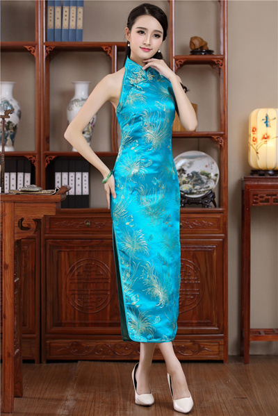 4486e47b0 Shanghai Story chinese traditional Dress cheongsam qipao Halter Qipao dress  backless chinese Long dr