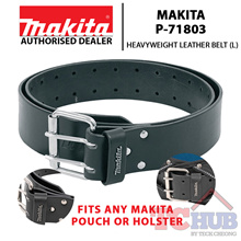 Makita P-71803 Heavyweight Leather Belt (L) Three rivets for truly unbreakable strength.