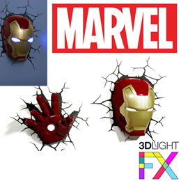 MARVEL - AVENGERS - 3D Light FX Deco Light LED Iron Man Mask | Iron Man Hand (Original)