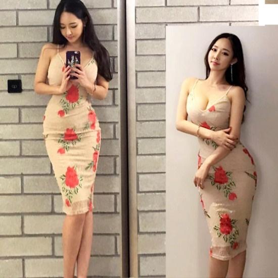 ジュルライ二十四MD1325ABベージュ・ローズ 塔/袖なしのワンピース/ 韓国ファッション