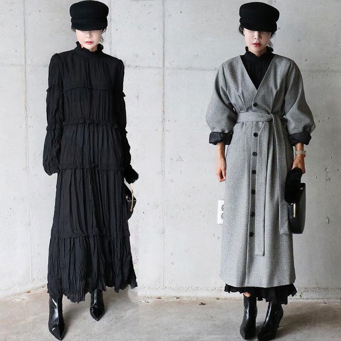 【送料無料】フリルのワンピース / おしゃれなシルエットのファッションコーデー提案!ハイクォリティー/働く女子のお洒落なオフィススタイル提案