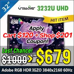 Crossover 3232U UHD AdobeRGB HDR IGZO 3840x2160 60Hz Adobe 4K 32 Monitor