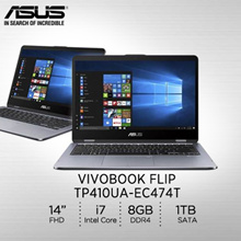 Asus: TP410UA-EC474T /Intel® Core™ i7-8550U processor 1.8 GHz  /2 years international warranty