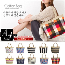 (bt - bag) tote bag ladies canvas with zipper a4 bag shoulder tote bag light weight cotton commuter school border cute female mama bag