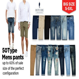 [HOTCODE] 50 Type Mens shorts / cotton pants / jeans / big size / denim / casual / linen / Capri
