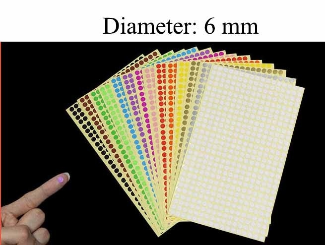 6mm/10mm/19mm/32mm/50mm/100mm Round Dot Stickers Color Coding Labels,8  Different Colors