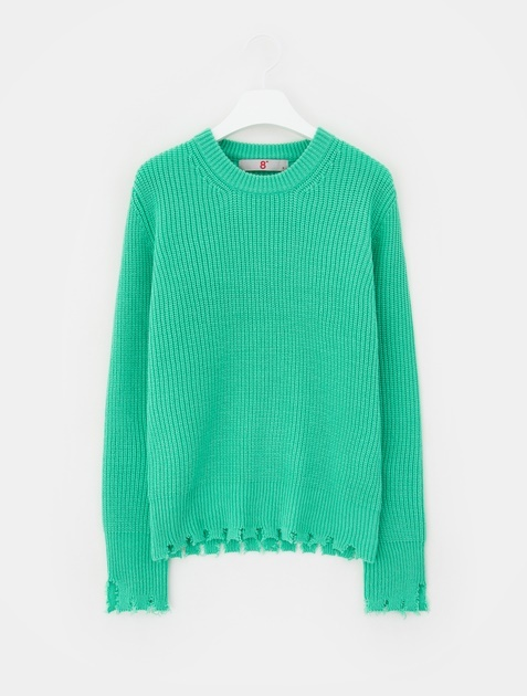 8SECONDS Damage Round Neck Pullover - Apple Green