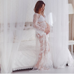 Off White Matenity Gown Photo Shoot Maternity Photography Props Lace Dresses Floor Length Lace Mater