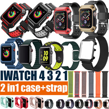2 in1 case+strap!!!Apple watch series 4 3 2 1 3D Full tempered glass sports strap Metal strap watch