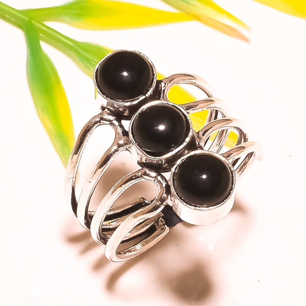 Black Onyx Sterling Silver Overlay 8 Grams Ring Size 8 US Handmade Jewelry Sizable Gift Jewelry