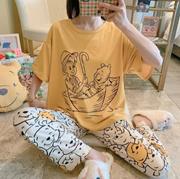 [Buy 3 free shipping] Pajamas   Korean cartoon pajamas womens short-sleeved trousers home service