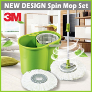 [+] 3M SCOTCH BRITE NEW Double-Bucket Spin Mop + 2 Mop Heads ★ Powerful • Clean • 180° • Microfiber