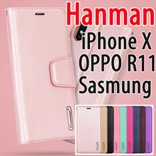 Hanman Genuine Leather Flip Case for  iPhone X 8 7 6 OPPO R11 R9S R9 R15 R15 PRO P20 PRO