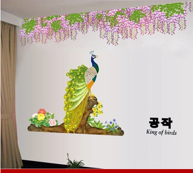 Peacock Wall Stickers Bedroom Living Room Decorative Flower Painting Palm Cozy Bed Room Sofa Tv Back