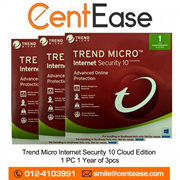 Trend Micro Internet Security 10 Cloud Edition 1 PC 1 Year of 3pcs