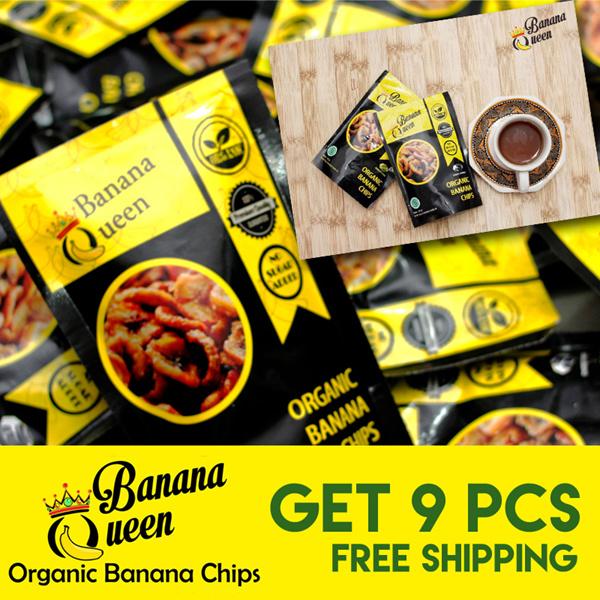 [Paket 9pcs- Gratis Ongkir Jabodetabek] Keripik Pisang Original Banana Queen Chips Cemilan Sehat Deals for only Rp171.000 instead of Rp171.000