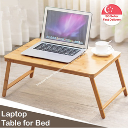 Laptop Table for Bed Portable Bamboo Foldable Bedside Table Stand for Notebook Breakfast Reading