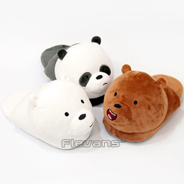 We Bare Bears Grizzly Panda Ice Bear Plush Slippers Home Indoor Shoes Soft Toys Dolls