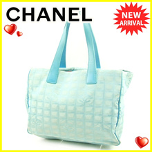 Chanel CHANEL Tote Bag / Shoulder Bag Women's Men New Available Travel Line Tote MM New Travel Line Blue Nylon Jacquard - Do × Cafe Vintage Popular 【Used】