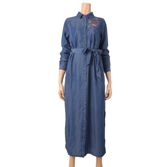 トミー・ヒルフィガーデニム女性フラワー自首デニムのマキシのワンピースTUMR3OZE11A0 面ワンピース/ 韓国ファッション