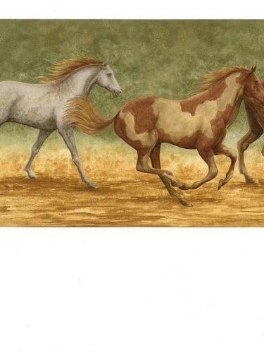 Qoo10 Wallpaper Border Running Wild Horses On Tan And Green