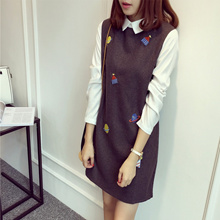 New Korean women s doll for fall/winter brought two dresses long sleeve slim woolen cloth skirt