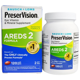 Bausch & Lomb PreserVision AREDS 2 Formula Eye Vitamin & Mineral Supplement 120 Soft Gels