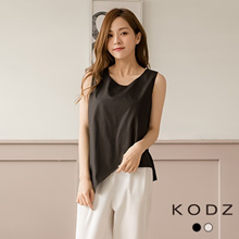 KODZ - Sleeveless Asymmetrical Crossover Hem Top - 182048
