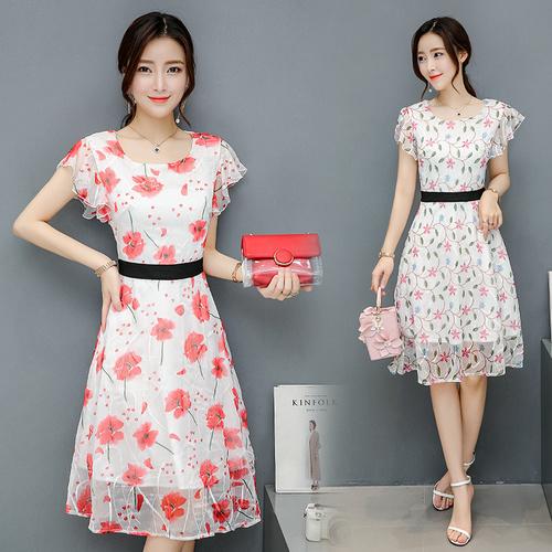 韓国のファッションは、薄い腰と長いセクション気質の女性はドレスの新鮮なシフォンました/ワンピース/花柄ワンピース/Vネックワンピース