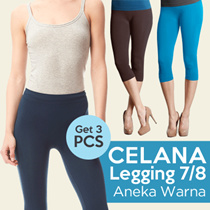 **GET 3 PCS Celana Legging 7/8** Aneka Warna Good Quality