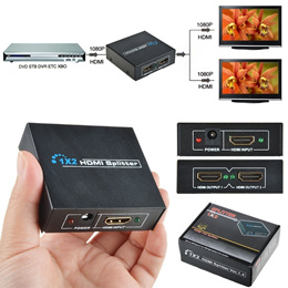 HDMI 1x2 Splitter Projects HDMI on 2 Devices Concurrently - Support HD 1080P 3D Ver 1.4