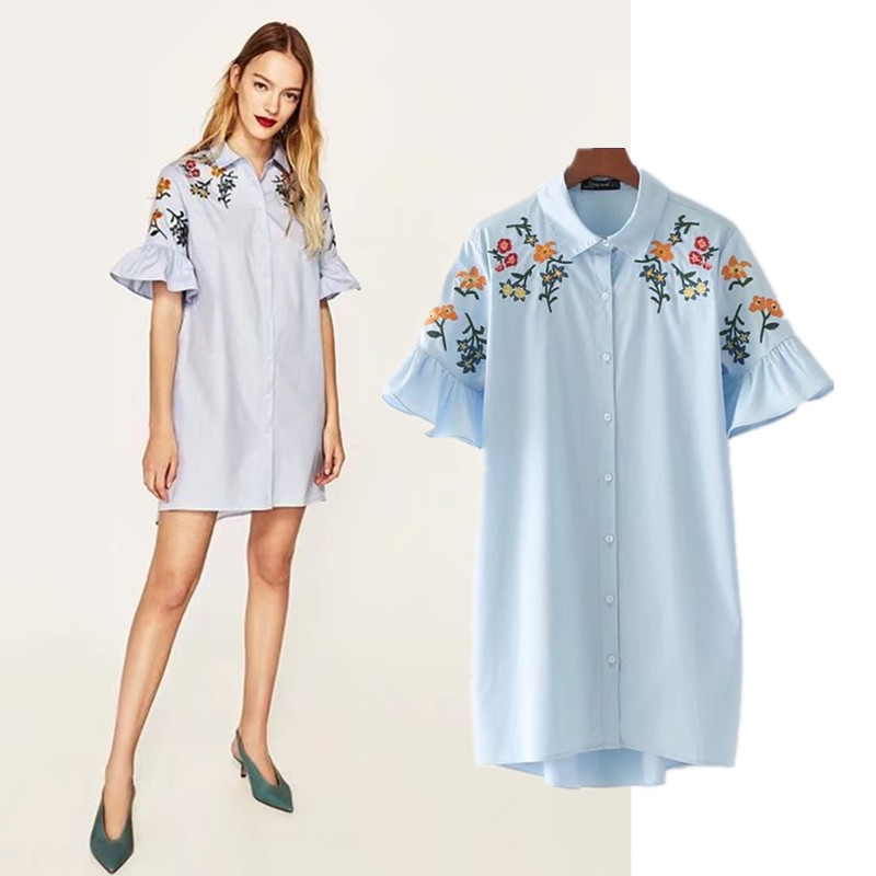2017新品  韓国ファッション ワンピース   レディース 人気  刺繍  フレア袖   シャツワンピース 流行 上質/  D7061625