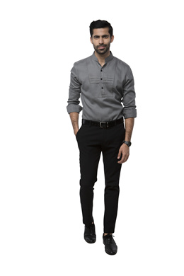 Canyon Grey Color men Unique Tuxedo Style Evening Shirt with a bib design on the Front [DHD]