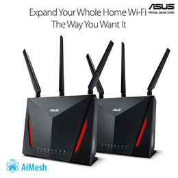 ASUS RT-AC86U x 2 - AiMesh for Mesh Wifi System AiProtection Network Security by Trend Micro WTFast Game. Data rate: 2.4GHz x 1, 5GHz x 2 Data rates up to Wireless AC 1750Mbps (450+1300Mbps).