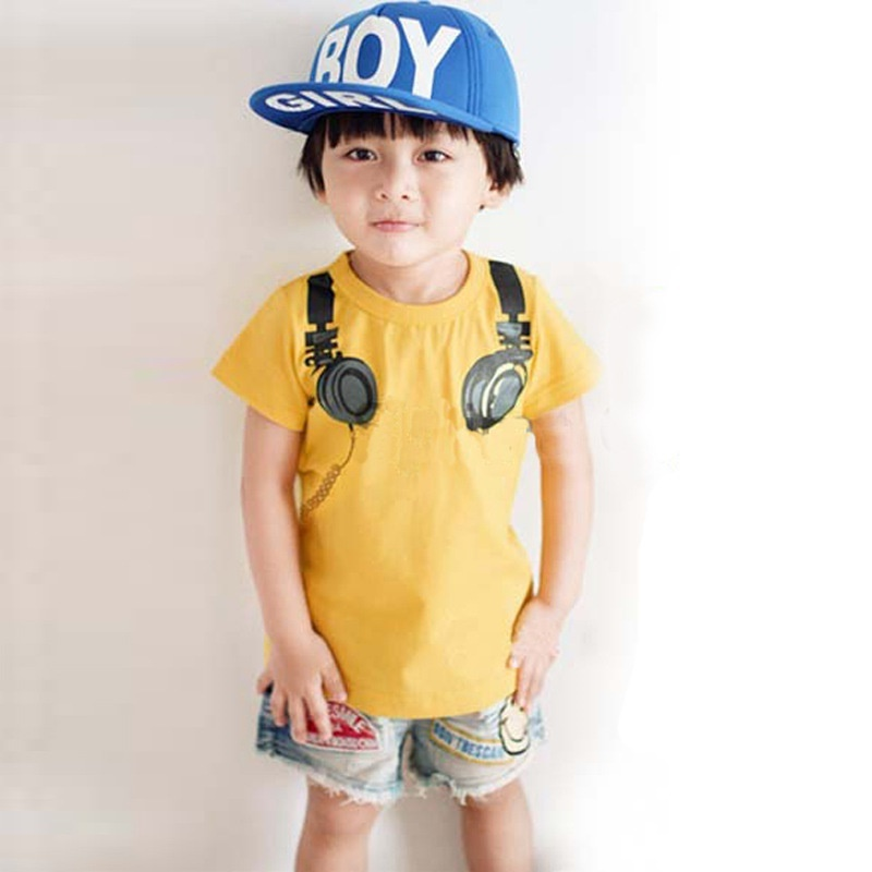 Headphone Design T-Shirt Cotton Shirt Boys Kids Short Sleeve Casual Tops Tees