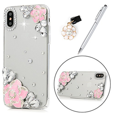 421fb18ad15 iPhone X Case for Girls, Pink Flower Crystal Clear Case Hard PC Plastic  Shell with