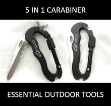 5-in-1 Carabiner Hook Outdoor Tool: Designed for Adventurers and Survival Enthusiasts.