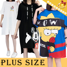 ◆Plus Size Cartoon T-shirt Dress◆Loose Tee/ Fashion One-piece/ Homewear/Unique Design and Logo/M-5XL