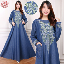 SB Collection Dress Maxi Jeany Gamis Jeans Longdress Jumbo Wanita